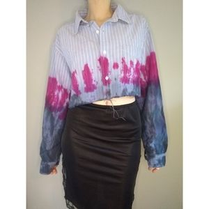 Vintage 90s Cropped Chambray Tie Dye Top Large